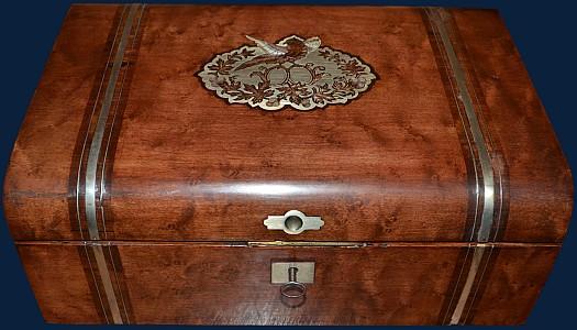 Engels Antiek Zilver.Een Antieke Mahonie Schrijfdoos Met Zilver Ingelegd Engels 19e Eeuw